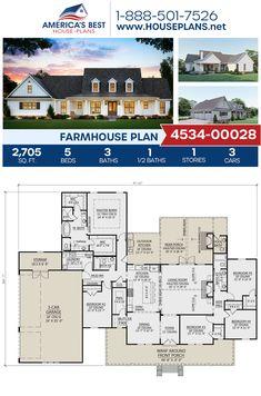 House Plans – The Thomasina – Home Plan 1497 5 Bedroom House Plans, Ranch House Plans, Best House Plans, Dream House Plans, My Dream Home, Modern Farmhouse Exterior, Farmhouse Architecture, Farmhouse Floor Plans, Farmhouse Style