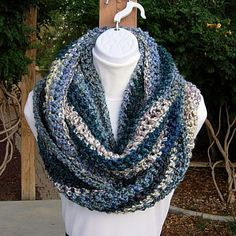 INFINITY SCARF Large Loop Cowl Teal Blue Green Red by MicheleMade