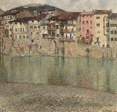 Orazio Pigato, Case sull'Adige a Santo Stefano, 1923, olio su tela, Fondazione Domus per l'arte moderna e contemporanea