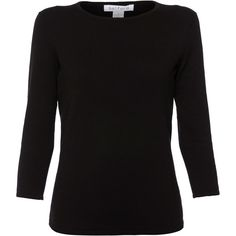 Belford Black Three-quarter Sleeve Pima Cotton Top ($105) ❤ liked on Polyvore featuring tops, black, 3/4 length sleeve shirts, three quarter shirt, three quarter length sleeve shirts, shirt top and 3/4 sleeve tops