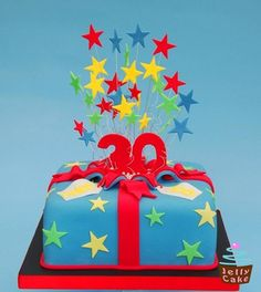 An Exploding Star Present Cake For A Joint Birthday Celebration Original Design By Planet