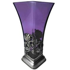 Lovely Purple Glass Vase with Sterling Frame, circa 1900 | From a unique collection of antique and modern sterling silver at https://www.1stdibs.com/furniture/dining-entertaining/sterling-silver/