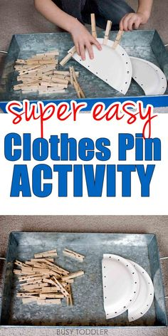 Easy Clothes Pin Activity: We love this clothes pin activity idea! And all the extension ideas at the bottom of the post. A great indoor activity for toddlers!