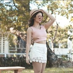 yassi pressman Fresh Flower Skort in White Yassi Pressman, Cut Out Top, Celebrity Outfits, Celebs, Celebrities, Role Models, Lace Shorts, Summer Outfits, Actresses