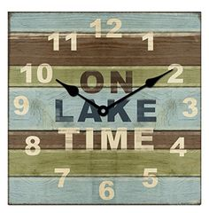 Young's Inc Square Wood Lake House Clock. This beautifully designed wall clock is a great embellishment addition to any home decor room. Clocks Fall Back, Rustic Lodge Decor, Lake Rules, Wall Clock Silent, Wood Plank Walls, Cottage Signs, Lake Decor, Machine Wash Pillows, Thing 1