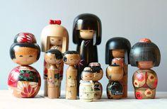 antique kokeshi family dolls
