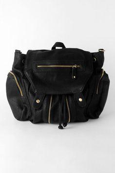 Zippered Out Bag in Black $57 at www.tobi.com