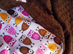 Pink Night Owl Satin Stroller Blanket  customize by sugarspicekids, $36.00