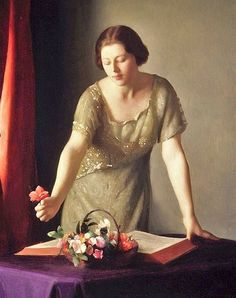 """William McGregor Paxton  """"Girl Arranging Flowers""""  I guess this means she's not reading."""