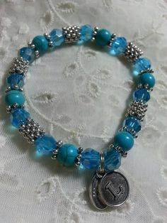 Initial L Hope Angel Bracelet in Light Blue by HopeAngelBracelets