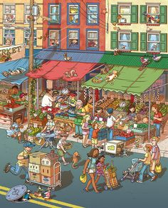 for Highlights. Based on Philadelphia's Italian Market. Wimmelbild Created for Highlights Magazine Copyright © Highlights Press Spanish Lessons, English Lessons, Learn English, English Time, French Lessons, Learn French, Spanish Activities, Language Activities, Languages Online