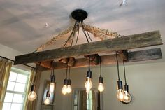 Vintage Farmhouse Ladder Chandelier with Edison Bulbs made with Reclaimed Rustic Wood - Modern Farmhouse Light Fixtures, Farmhouse Lighting, Kitchen Lighting, Vintage Farmhouse, Farmhouse Ideas, Farmhouse Table, Vintage Wood, Farmhouse Decor, Barn Wood