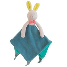 Moulin Roty Mademoiselle et Ribambelle Bunny Lovey Security Blanket Baby Lovies, Crib Toys, Pink Bow Tie, Baby Security Blanket, Best Baby Gifts, Baby Comforter, Personalized Baby Blankets, Baby Hands, Bunny Plush
