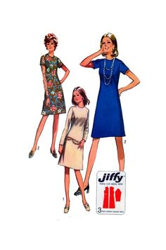 """70s, Women Dress, Sewing Pattern, Simplicity 9072, Round Neckline, A Line Cut, Long Sleeve, Short Sleeve, Fitted Bodice, Size 12, Bust 34"""" by FindCraftyPatterns on Etsy"""