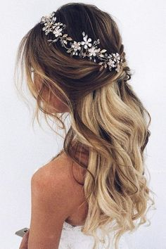 Bridal hair piece Bridal hair vine Gold Bridal headpiece Bridal headband Wedding headband Wedding hair piece Gold hair vine - Wedding hairstyles half up half down - Wedding Hair Down, Wedding Hair Pieces, Half Up Half Down Wedding Hair, Casual Wedding Hair, Prom Hairstyles Half Up Half Down, Hair Styles For Wedding, Half Up Wedding Hair, Bride Hair Down, Wedding Curls