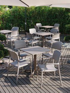 Buy online Bora By nardi, stackable garden chair with armrests design Raffaello Galiotto, step/spritz Collection