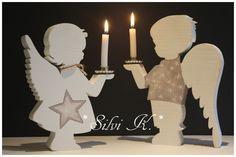 erhältlich hier:  http://de.dawanda.com/shop/anavlis Engel, Leuchter, Handarbeit, Holz, X MAS, Weihnachten, Silvi K.