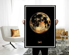 Moon Gold Moon poster Large Moon printable by JAnoveltyDeSign Office Wall Decor, Office Walls, Moon Print, Etsy Crafts, Home Furniture, Furniture Ideas, Full Moon, Diy And Crafts, Tapestry