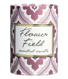 Large, scented candle made from wax and paraffin in a glass holder with a printed text motif. Burn time approx. 35 hours. Height 4 1/4 in., diameter at top 3 in. Supplied in a cardboard box with lid.