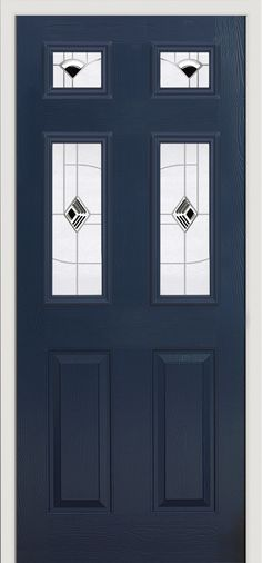 'Elbrus' style #composite #door with 'Murano' glass design in a French Navy finish.