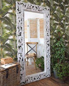 Specchiera legno white antique H 175 cm - Mobilia Store Home & Favours Favours, Teak, Oversized Mirror, Antiques, Store, Furniture, Home Decor, Antiquities, Antique