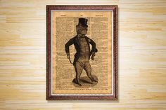 Animal poster Cabin decor Gentleman cat by CrowDictionaryPrints