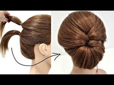 Прическа за 2 минуты. ПРОСТО СДЕЛАТЬ СЕБЕ! Hairstyle in 2 minutes. JUST MAKE YOURSELF! - YouTube Front Hair Styles, Medium Hair Styles, Curly Hair Styles, Bun Hairstyles For Long Hair, Work Hairstyles, Easy Elegant Hairstyles, Glam Hairstyles, Short Hair, Hair Upstyles
