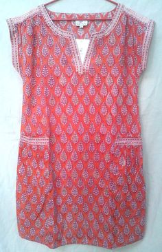 Anokhi Boho Chic Rich Coral & Orange Cypress Leaf Hand block print Cotton Tunic top