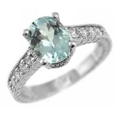 Oval Blue Aquamarine & Diamond Engagement Ring 14k by JewelryPoint, $899.00