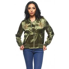 Tiger Head Embroidered Satin Bomber Jacket in Olive ($40) ❤ liked on Polyvore featuring outerwear, jackets, olive jacket, green military jacket, embroidered jacket, satin jackets and button jacket