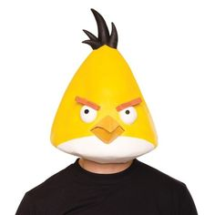Rovio Angry Birds Yellow Bird Latex Mask Adult - This Angry Bird is faster than your average canary! Rocket yourself towards Halloween success with this Rovio Angry Birds Yellow Bird Latex Mask Adult. Includes one yellow mask ready for high flying fun! This is an officially licensed Angry Birds product.
