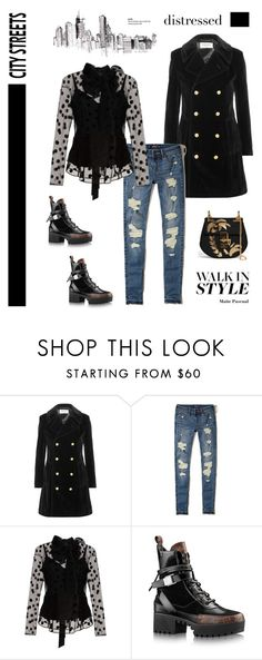 """""""True Blue: Distressed Denim 19.01.17"""" by maitepascual ❤ liked on Polyvore featuring Yves Saint Laurent, Hollister Co., Marc Jacobs, Chloé, City Streets and distresseddenim"""