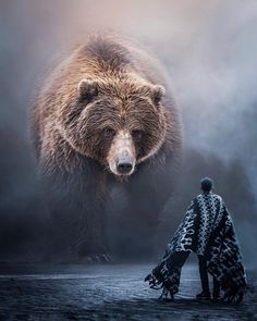 11499 likes, 135 comments - Oh Brother Bear Art Thou . Bear Spirit Animal, Spirit Bear, Photomontage, Photoshop, Image Lion, Photo Ours, Art D'ours, Giant Animals, Bear Paintings