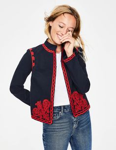 Lisbon Embroidered Jacket Jackets at Boden Embroidered Clothes, Embroidered Jacket, Coats For Women, Jackets For Women, Clothes For Women, Women Clothing Stores Online, Denim Tunic, Linen Trousers, Kids Fashion