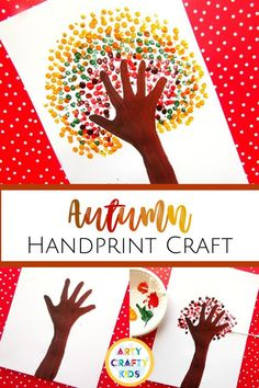 Looking for fall handprint crafts for kids to make at home or preschool? This fall tree handprint craft for kids is easy to make + involves painting with handprints and fingerprints. Get step by step instructions for these autumn handprint crafts for kids plus other easy fall crafts for kids here! Fall Fingerprint Crafts for Kids | Fall Finger Painting Crafts for Kids | Fall Tree Crafts for Kids | Autumn Tree Crafts for Kids | Fall Kids Crafts #KidsCrafts #FallCrafts Easy Fall Crafts, Crafts For Kids To Make, Fall Diy, Art For Kids, Painting Crafts For Kids, Hand Print Tree, Fingerprint Crafts, Art Activities For Kids, Crafty Kids