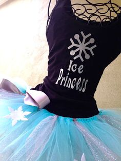 Running Tutu: Disney Frozen Inspired Princess Elsa Custom Racing Tank and Pixie Length (9 inch) Tutu