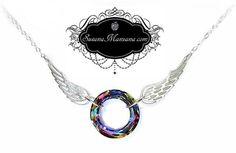 """DO NOT COPY MY DESIGN  Halo Necklace© Copyright 2011 Susana Manzana Jewelry Halo Necklace is made with a round Swarovski Crystal, with sterling silver wings and a sterling silver chain and clasp. Wingspan is 3"""" wide. Shortest length is 16"""" and comes with a 2"""" extender.  Halo is now available in 8 color options: Silver, Clear, Pink, Golden, Blue, Green, Bold Multi-Colored, Light Multi-Colored. Pictured above in """"Bold Multi-Color"""" $55.oo"""