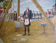 Brother George Washington is seen here wearing his Master's Jewel and Watson/Cassoul Masonic Apron laying the cornerstone for the United States Capitol.