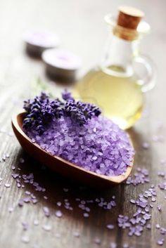 bowl of lavender bath salt and massage oil - beauty treatment