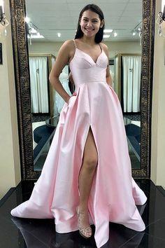 New Arrival V Neck Prom Dress Pink Floor Length Slit Formal Evening Gown  With Straps P2038 04e8af598b5a
