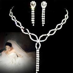 Zinc Alloy Drop Crystal Necklace earring set