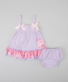 Another great find on #zulily! Pink & Lilac Dot Swing Top & Diaper Cover  - Infant & Toddler #zulilyfinds