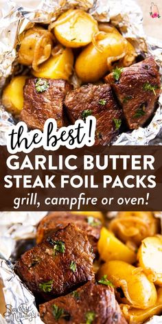 These Garlic Butter Steak and Potato Foil Packets are an easy family dinner recipe for summer. Cook them on the grill/campfire or in the oven – just add a vegetable or salad and your dinner will be re Easy Summer Dinners, Easy Family Dinners, Family Meals, Summer Grilling Recipes, Easy Dinner Recipes, Easy Grill Recipes, Recipes For The Grill, Easy Family Recipes, Campfire Dinner Recipes