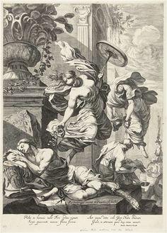 Dancker Danckerts | Allegorische voorstelling met Fortuna en Wetenschap, Dancker Danckerts, 1650 - 1666 | Op de voorgrond, op een stenen trap van een antiek paleis, ligt een slapende jongeling. Zijn hoofd rust op een kapiteel. Boven hem een antieke ornamentale vaas op een sokkel. Fortuna zweeft boven de jongeling, het rad van fortuin in haar linkerhand, en werpt hem goudstukken toe. Rechts op het tweede plan zweeft de Wetenschap, die aan een man, welke in de studie verdiept is, boeken en een…