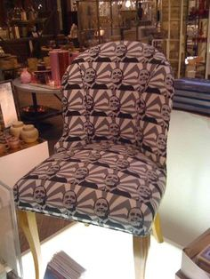 Chair covered in Obama fabric.