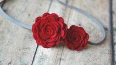 Gorgeous red felt flower headband on Etsy
