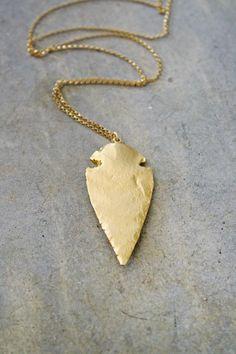 24k Gold Arrowhead Necklace. $50.00, via Etsy.