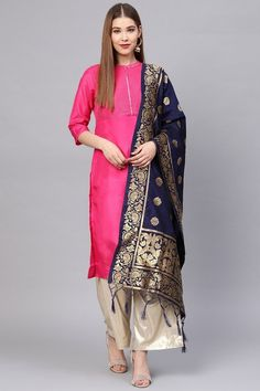 Product Features: Color: Navy Blue Fabric: Banarasi Art Silk Dupatta Length: Meters Dupatta Width: 24 Inches Type of Work: Zari Work Product Weight: Kg Disclaimer: Color and Texture may have slight variation due to photography Silk Anarkali Suits, Silk Dupatta, Eastern Dresses, Celebrity Gowns, Pakistani Wedding Outfits, Latest Sarees, Navy Blue Color, How To Dye Fabric, How To Look Classy