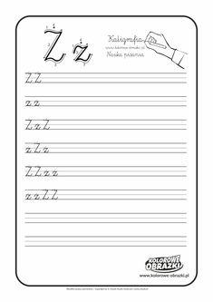 Kaligrafia litery - nauka pisania dla dzieci   Kolorowanki dla dzieci Projects To Try, Math Equations, Full Bed Loft, Cuba