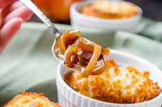 Entirely Made in the Slow Cooker French Onion Soup - This soup recipe requires very little hands on work and tastes delicious! | The Love Nerds